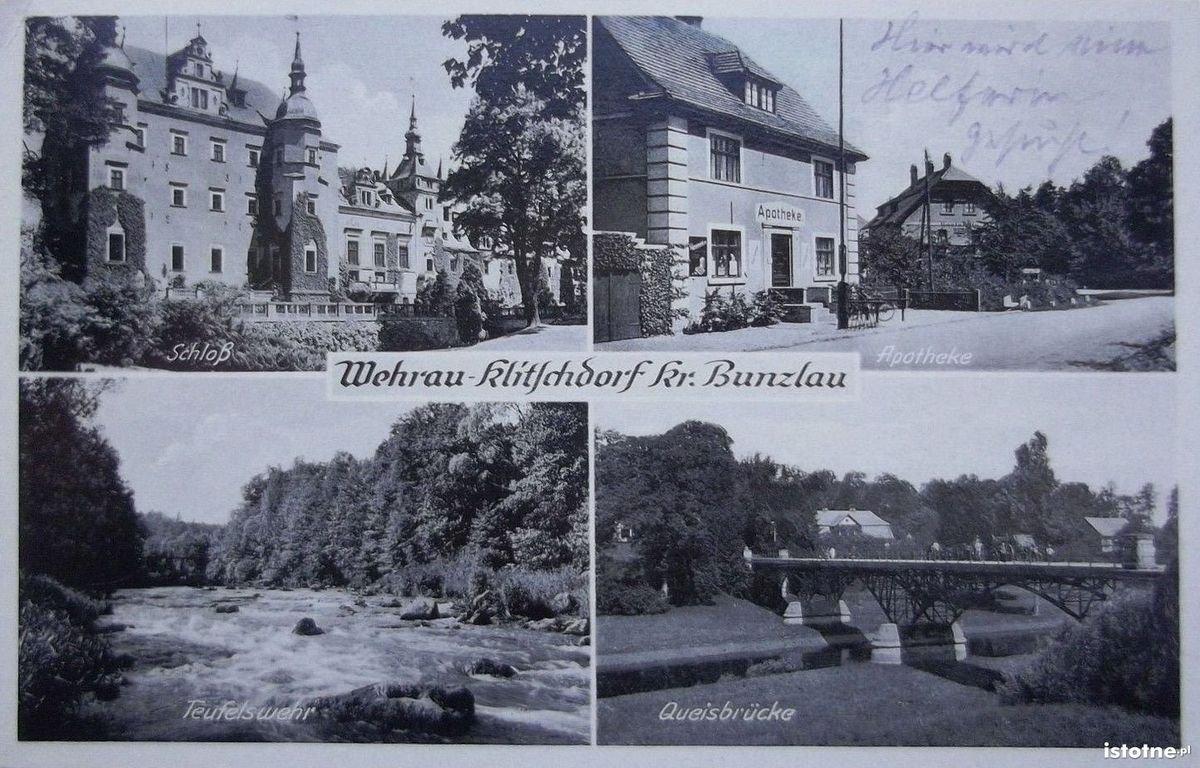 Na czteropolowej widokówce zaprezentowano: zamek, aptekę, rzekę i most