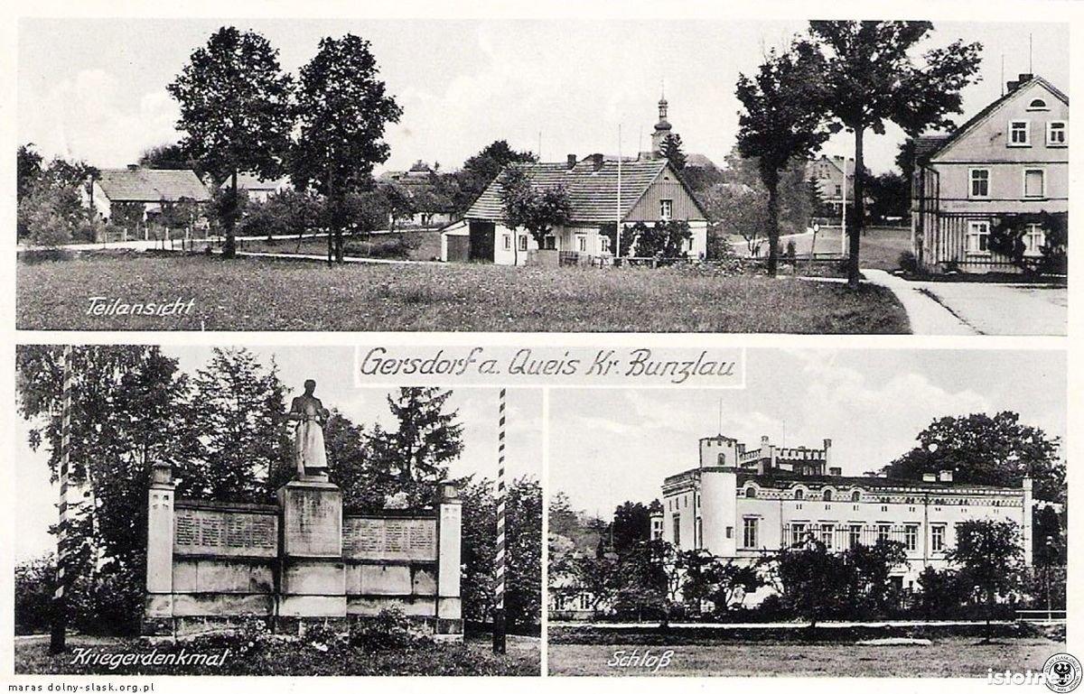 Na pocztówce z lat 30. XX w. widzimy panoramę miejscowości, pomnik wojenny i pałac