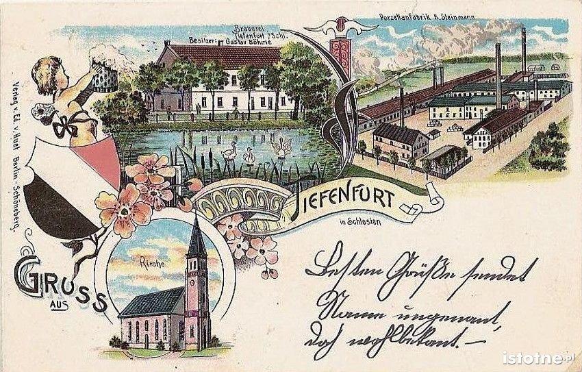 Karta pocztowa z przełomu XIX i XX w. prezentuje: browar, fabrykę porcelany i kościół św. Antoniego
