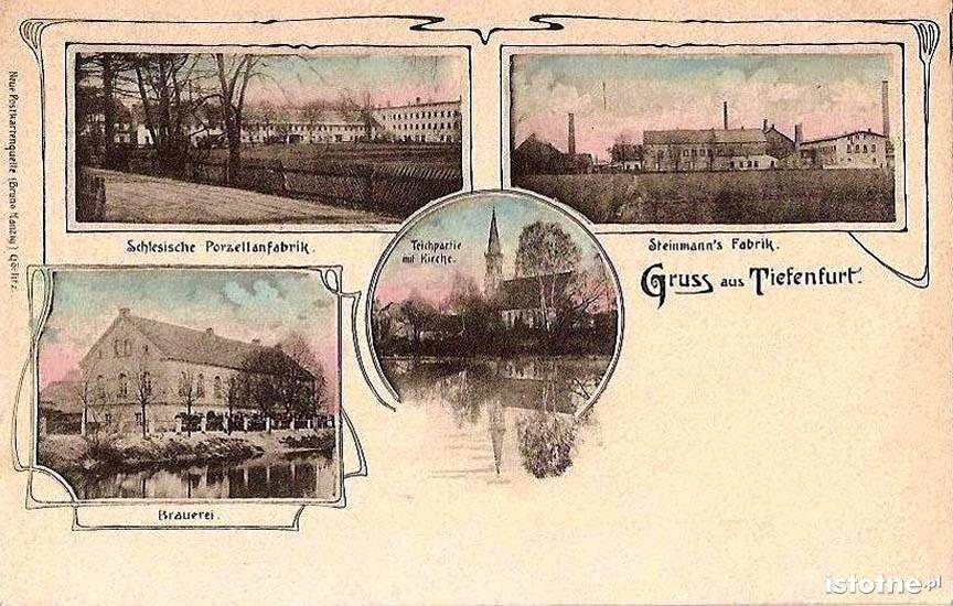 Na pocztówce z ok. 1900 r. fabryki porcelany, browar i kościół św. Antoniego