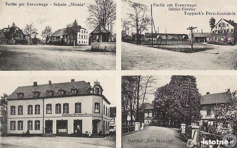 Na pocztówce od lewej z góry: szkoła, fabryka porcelany, sklep i zajazd