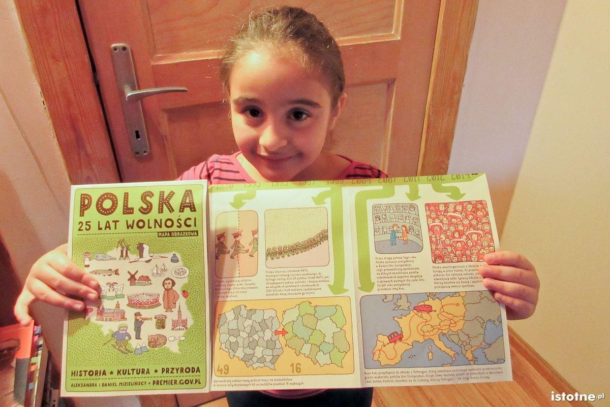 Aicha z mapą Polska 25 lat wolności