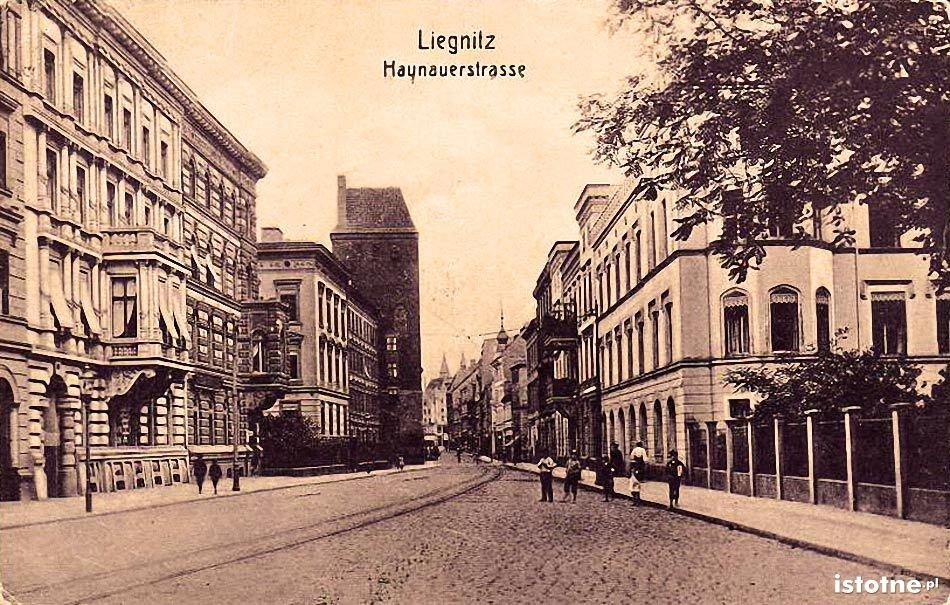 Pocztówka z 1909 roku z widocznym torowiskiem tramwajowym