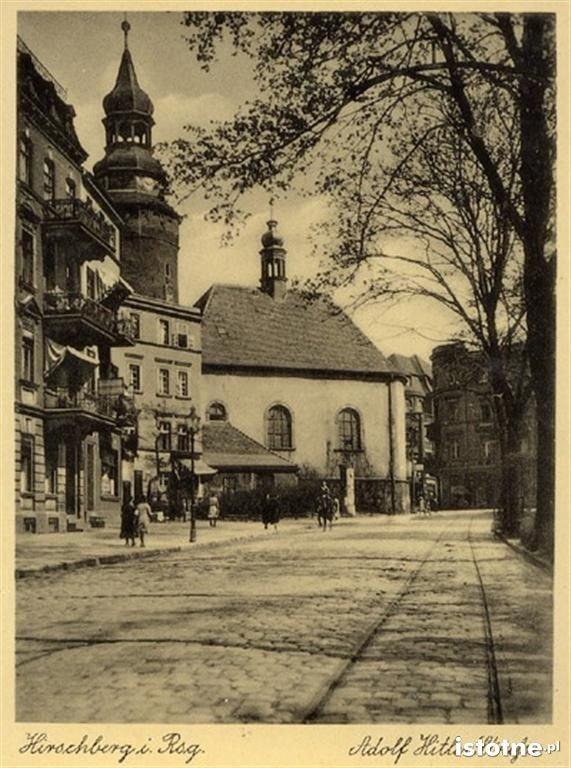 Ulica Bankowa w latach 30. XX w. z widocznym torowiskiem tramwajowym