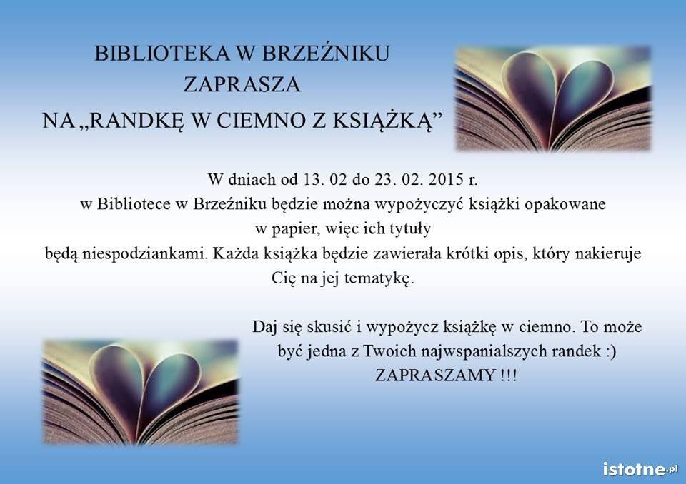 Plakat biblioteki w Brzeźniku