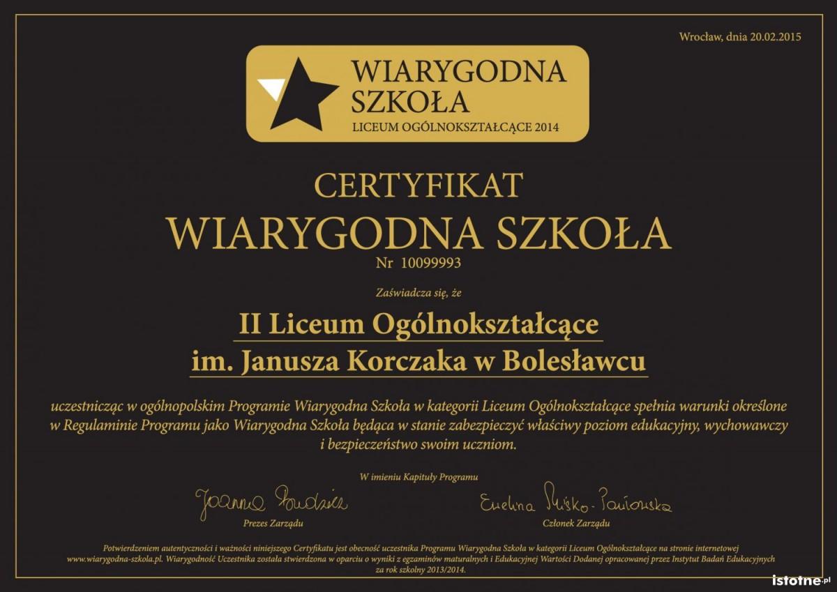 Certyfikat II LO Wiarygodna Szkoła