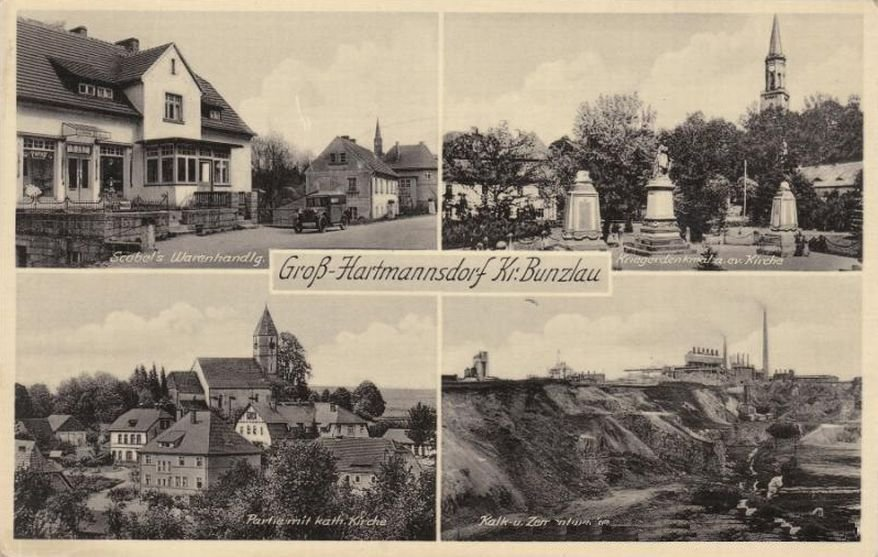 Na pocztówce z pierwszej połowy XX wieku widzimy: sklep, kościół oraz wyrobisko cementowni