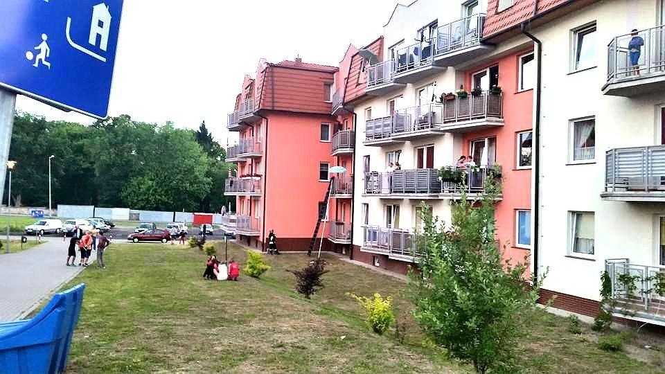 Ogień na balkonie przy Śluzowej