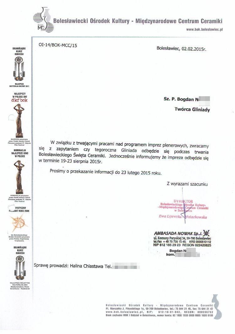 Dokumenty dotyczące Gliniady w 2015 roku
