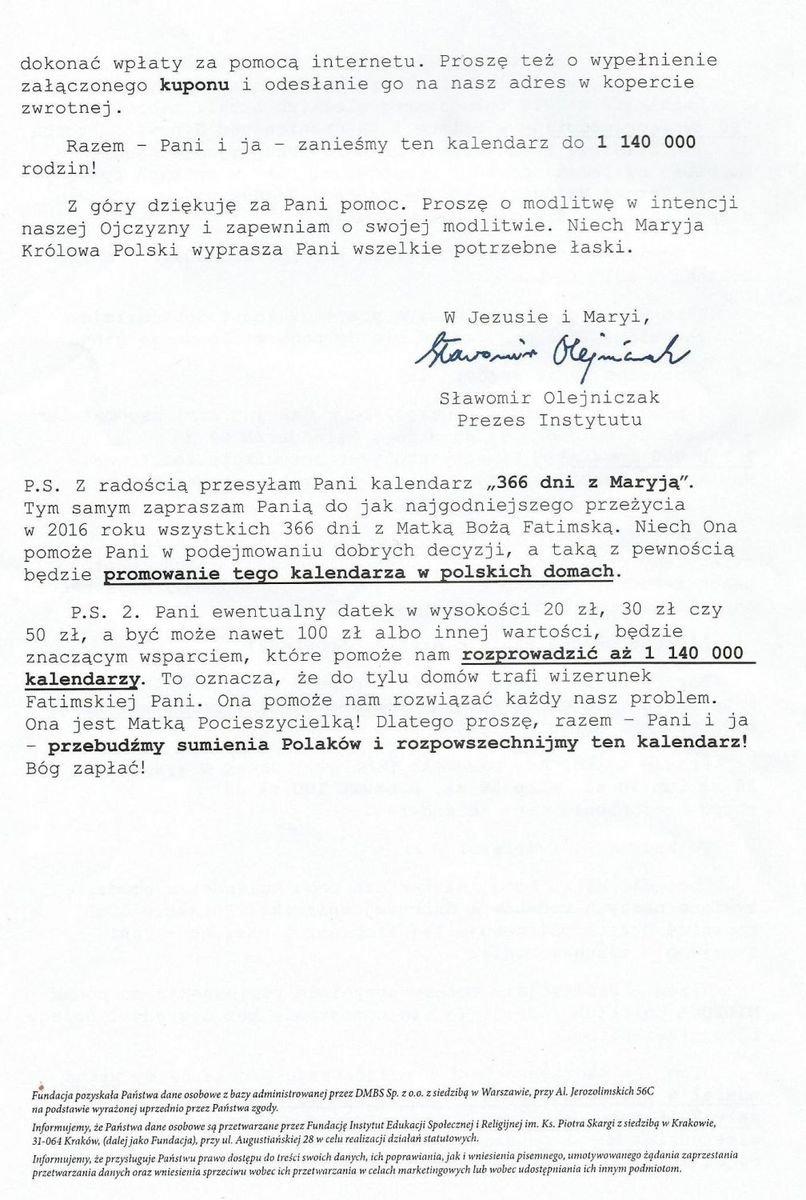 Fragmenty listu Instytutu Ks. Piotra Skargi