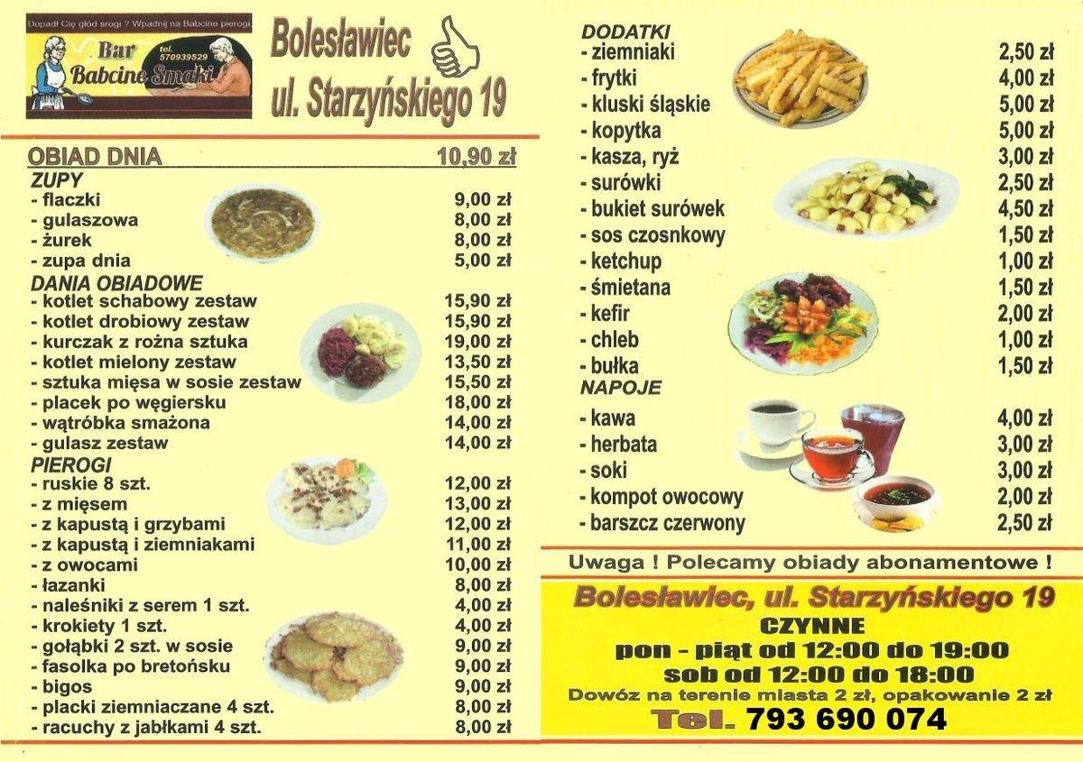 Bar Babcine Smaki - menu
