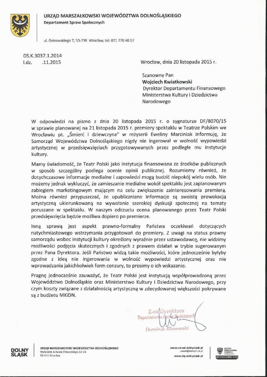 """Odpowiedź Urzędu Marszałkowskiego w sprawie spektaklu """"Śmierć i dziewczyna"""""""