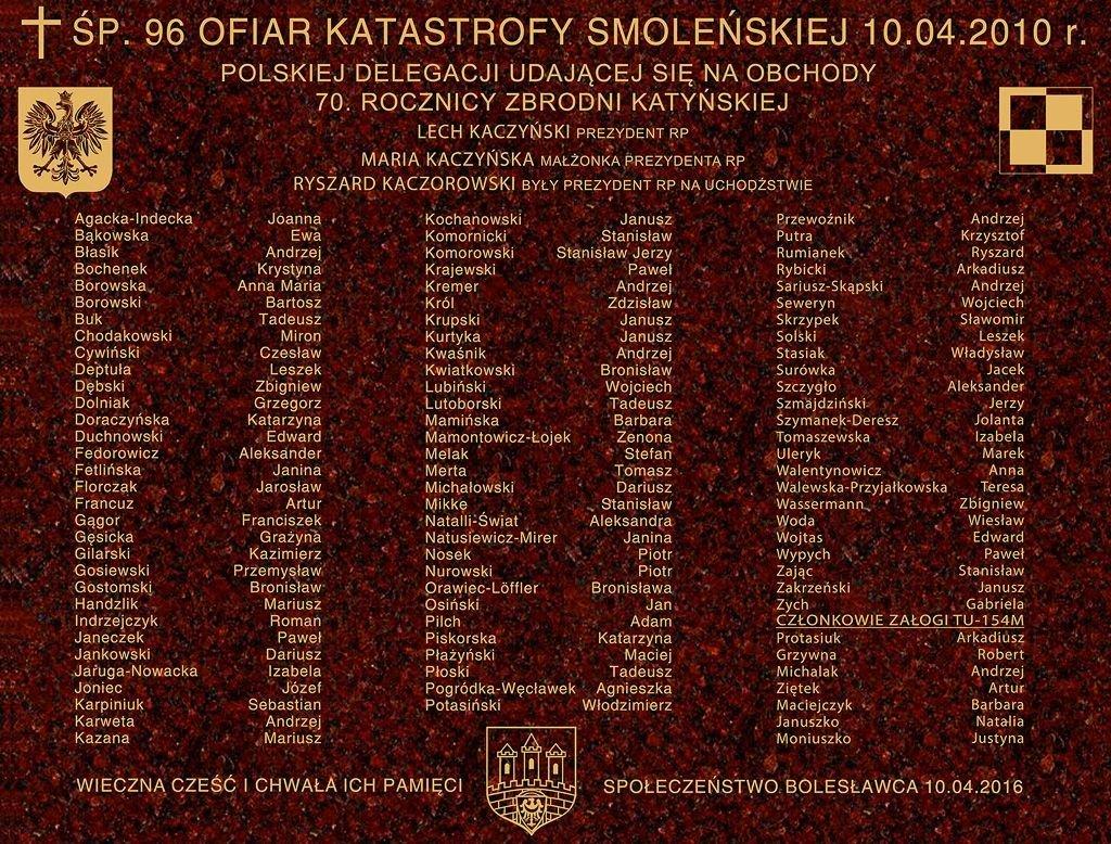Tablica upamiętniająca ofiary katastrofy smoleńskiej