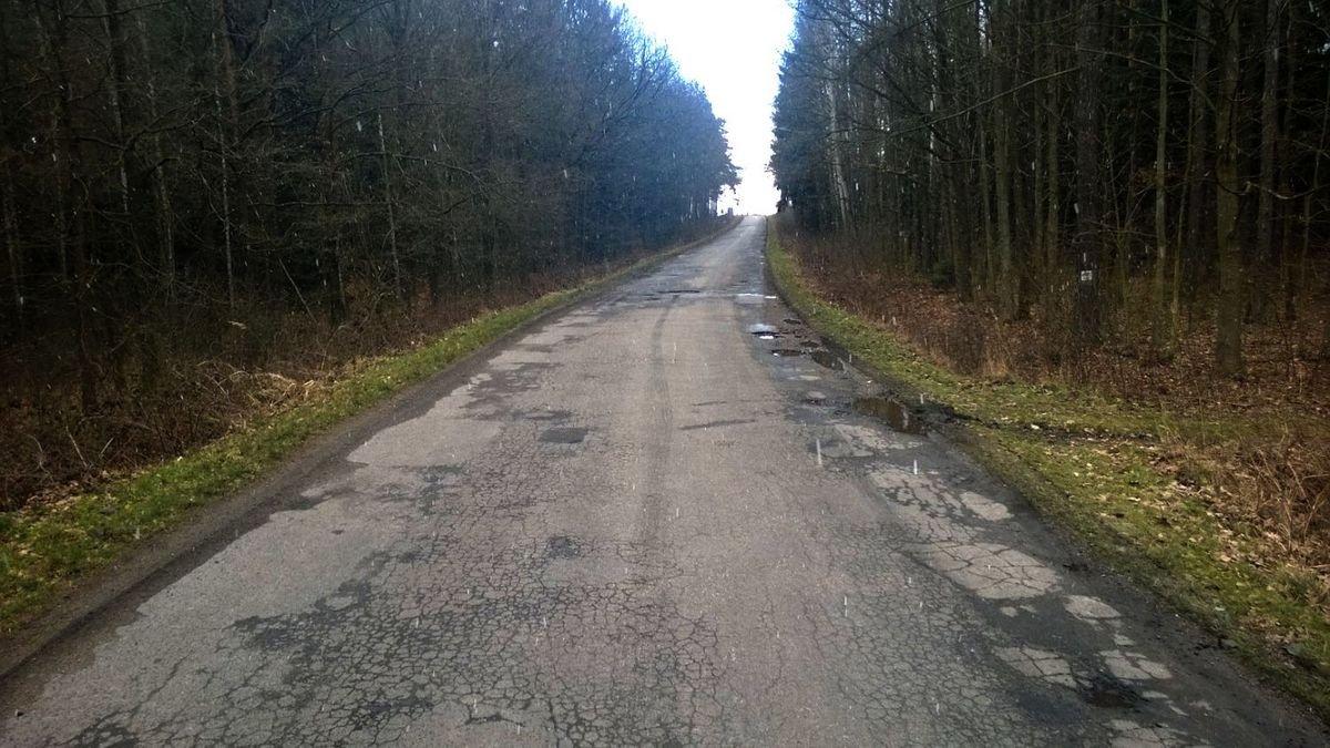 Dziurawa droga z Ocic do Gościszowa