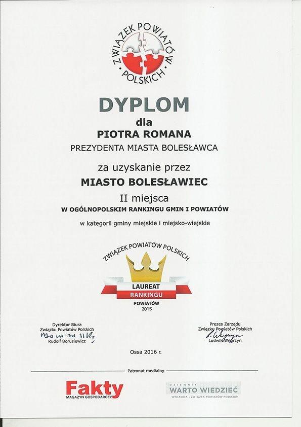 Miasto Bolesławiec drugie w rankingu