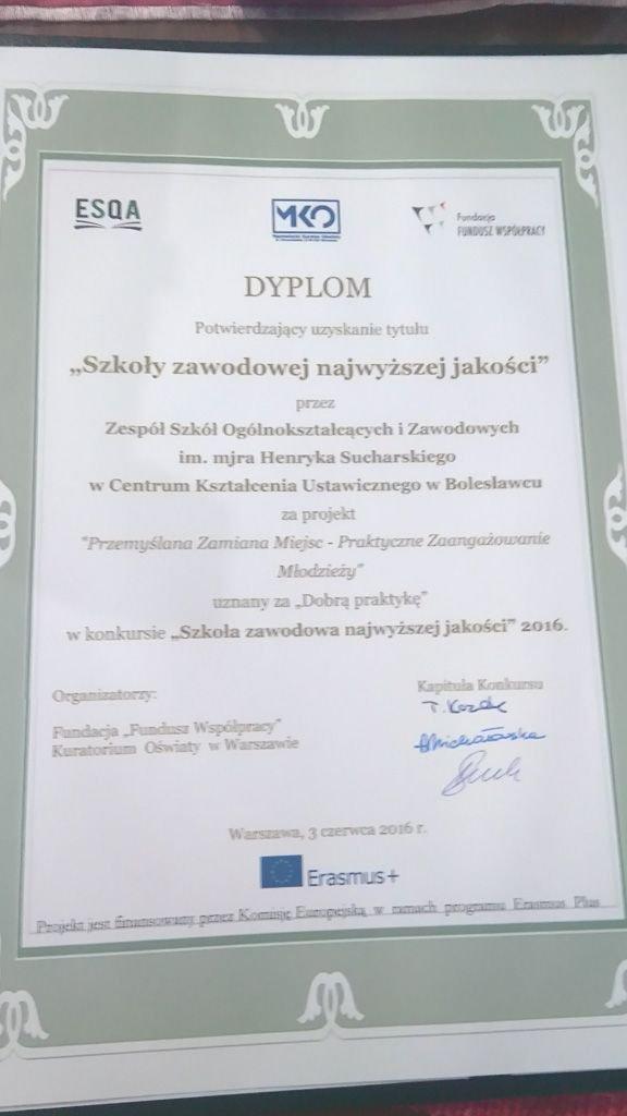 """ZSOiZ z tytułem """"Szkoły zawodowej najwyższej jakości"""""""
