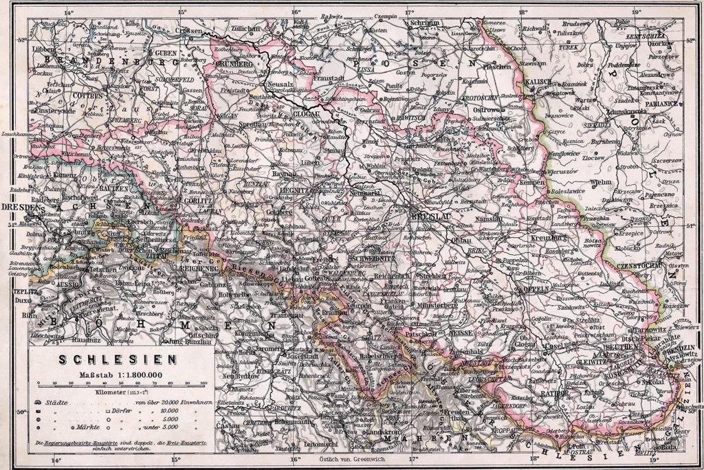 Niemiecka prowincja Śląsk, mapa z 1905 r.
