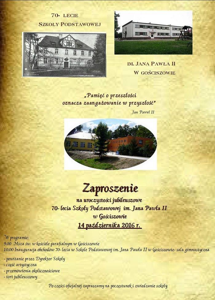 Szkoła Podstawowa im. Jana Pawła II w Gościszowie ma 70 lat