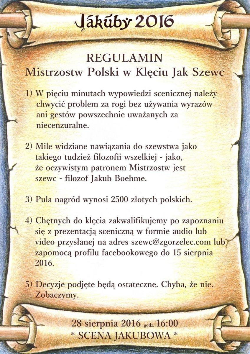 Regulamin Mistrzostw Polski w Klęciu Jak Szewc
