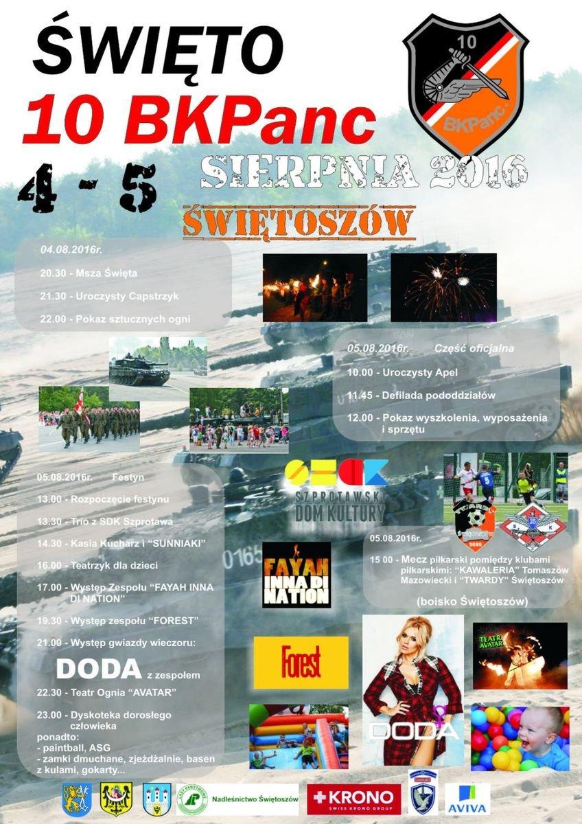 Plakat Święta 10 Brygady Kawalerii Pancernej w Świętoszowie