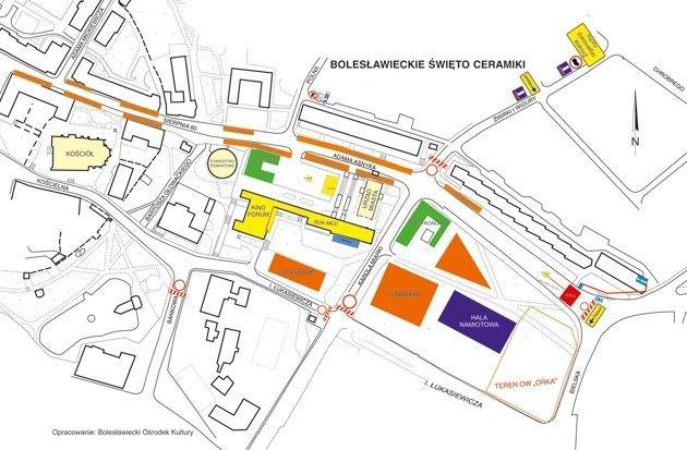 Mapa zamkniętych ulic w trakcie 22. Bolesławieckiego Święta Ceramiki
