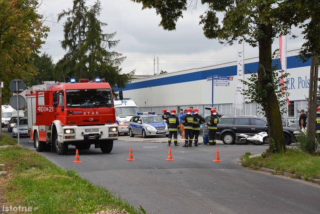 Wypadek na skrzyżowaniu Dolne Młyny–Mostowa