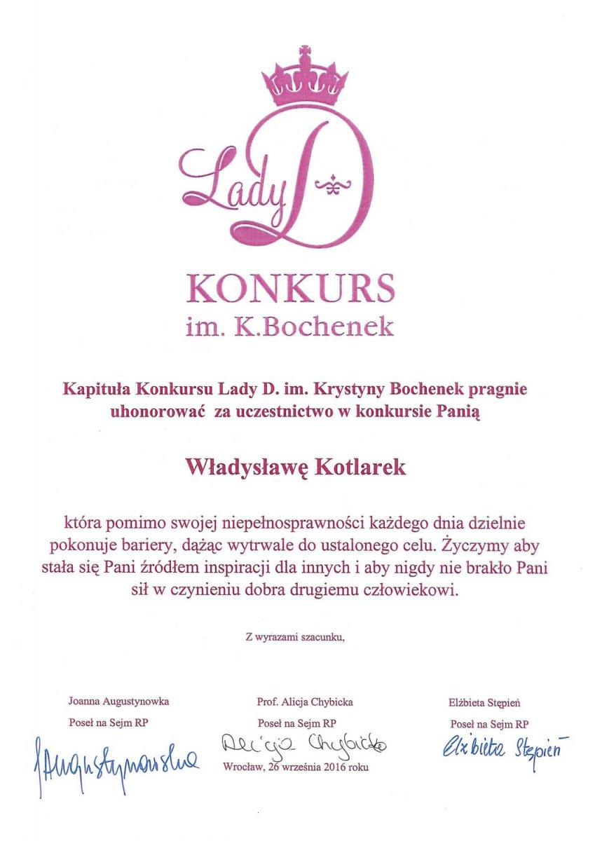 Władysława Kotlarek z Klubu Amazonek uhonorowana