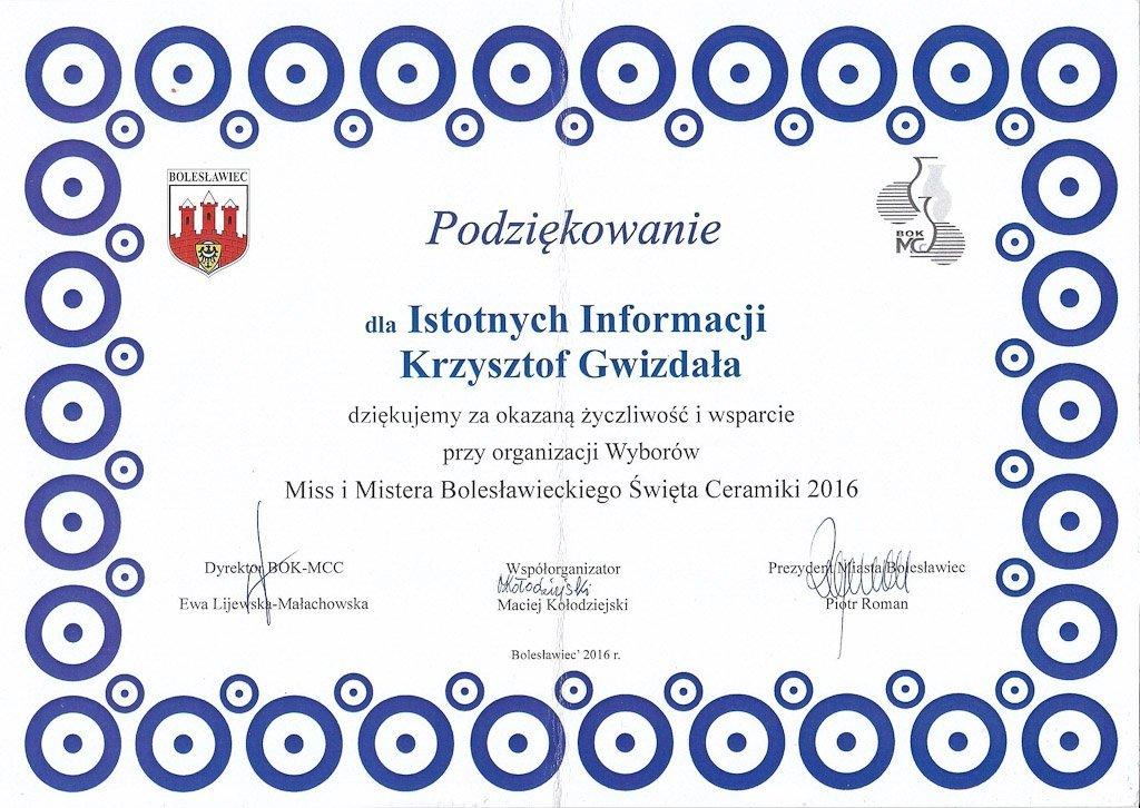 Podziękowania dla Istotne.pl
