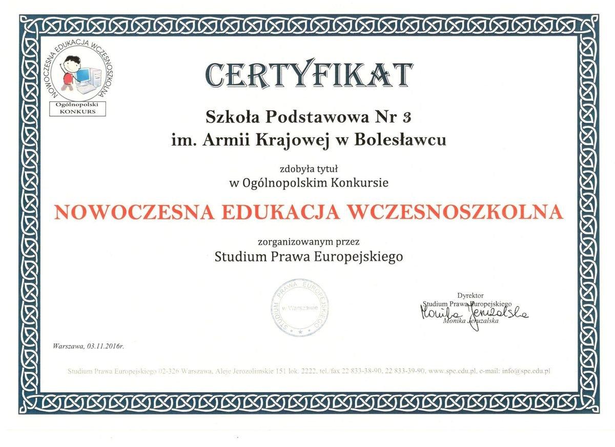 Certyfikat dla Szkoły Podstawowej nr 3
