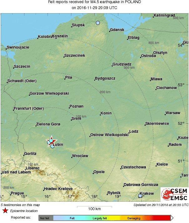 Lokalizacja wstrząsu na mapie