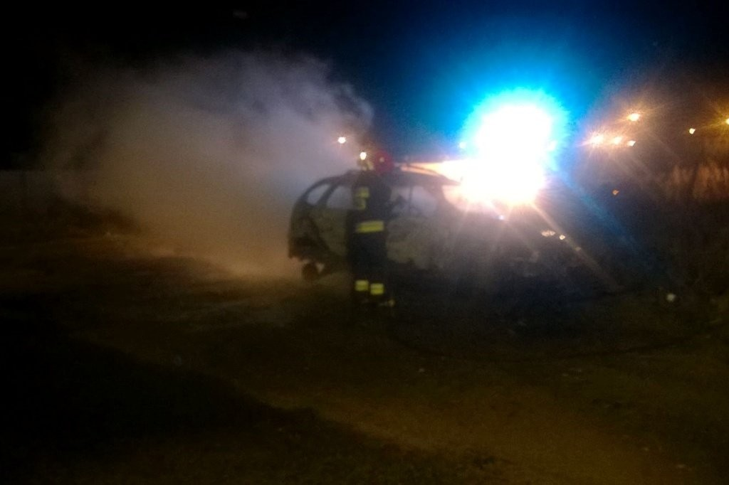 Wrak auta po pożarze