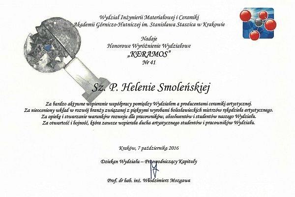 Dyplom Keramos dla Ceramiki Artystycznej