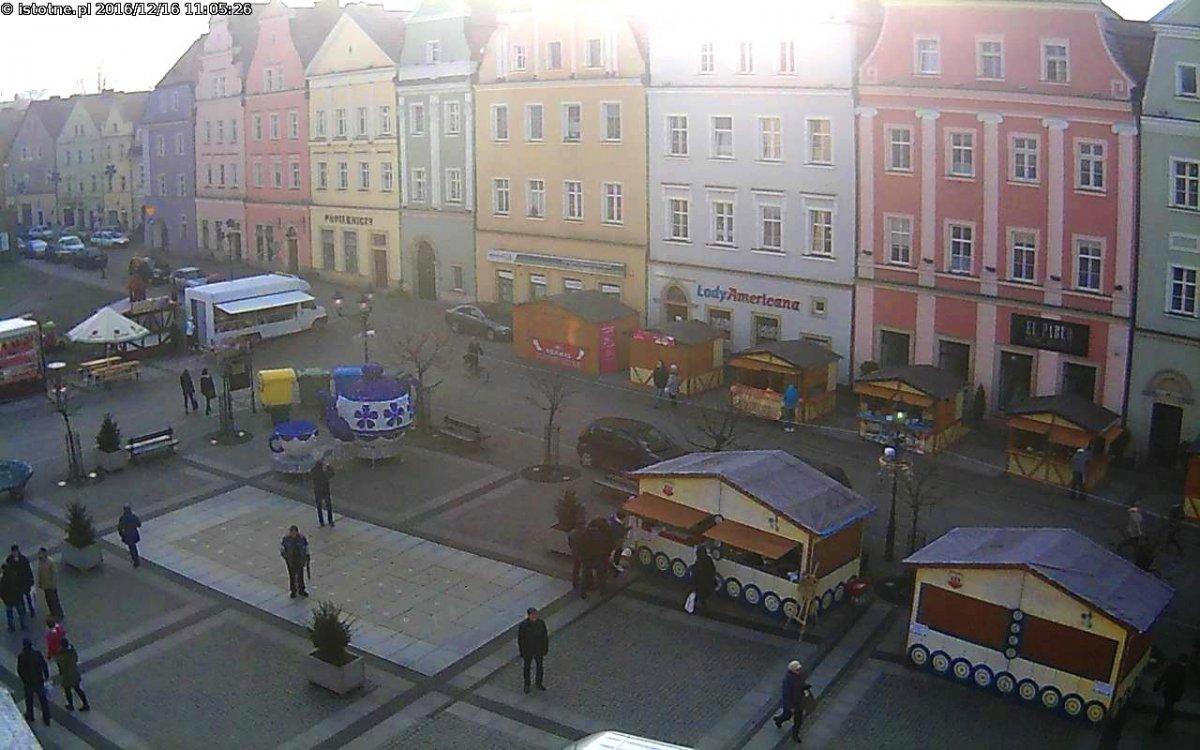 Bolesławiecki rynek - obraz z kamery
