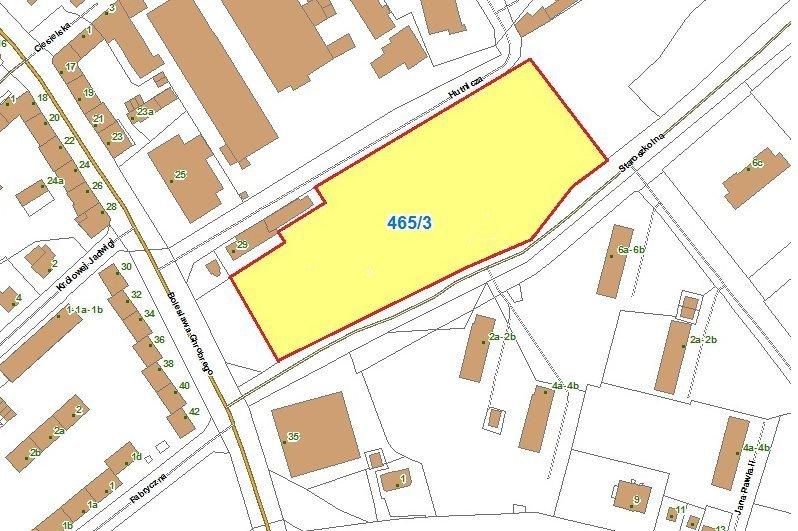 Mapa z zaznaczonym terenem pod sklep wielkopowierzchniowy