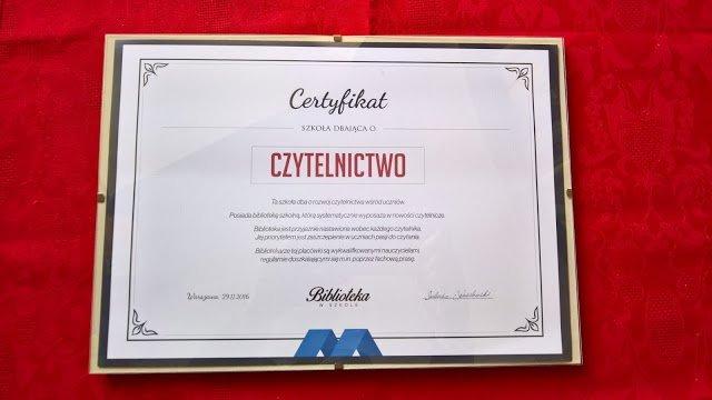 Certyfikat Biblioteki Szkolnej ZSOiZ