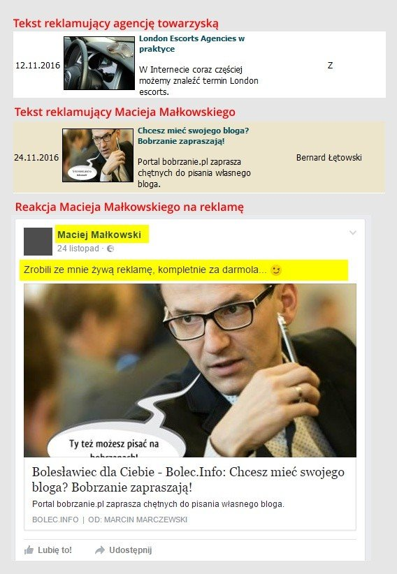 Zrzut ekranu z portali BolecInfo oraz Facebook