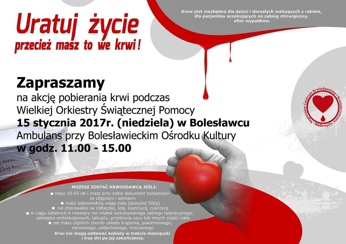 WOŚP w Bolesławcu: Będzie można oddać krew