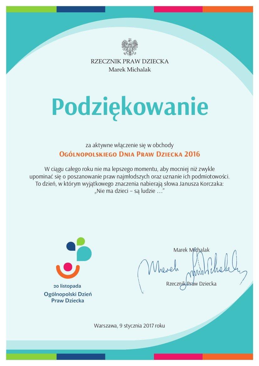 Dyplom dla Szkoły Podstawowej nr 3 w Bolesławcu