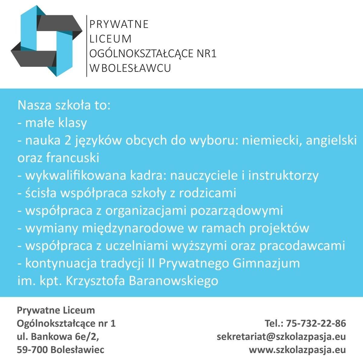 Prywatne Liceum Ogólnokształcące w Bolesławcu
