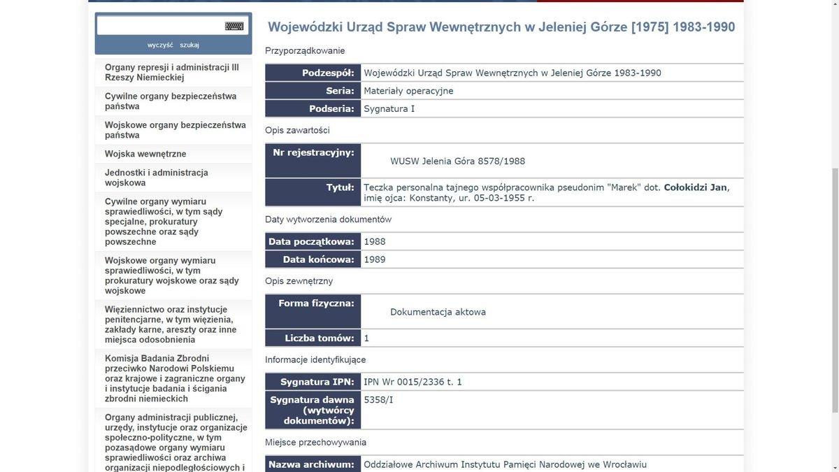 Zrzut ekranu inwentarza archiwalnego IPNu