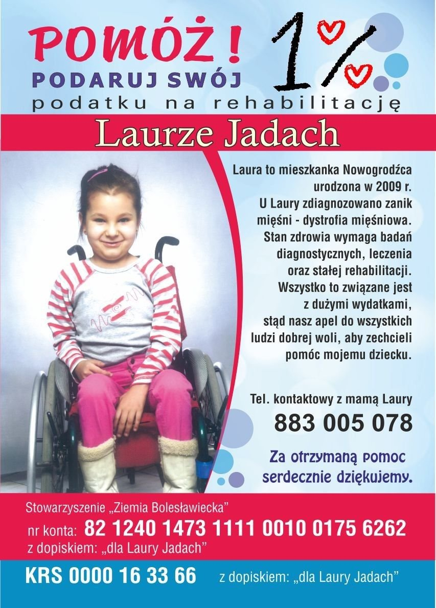 Plakat Laura Jadach prosi o wsparcie