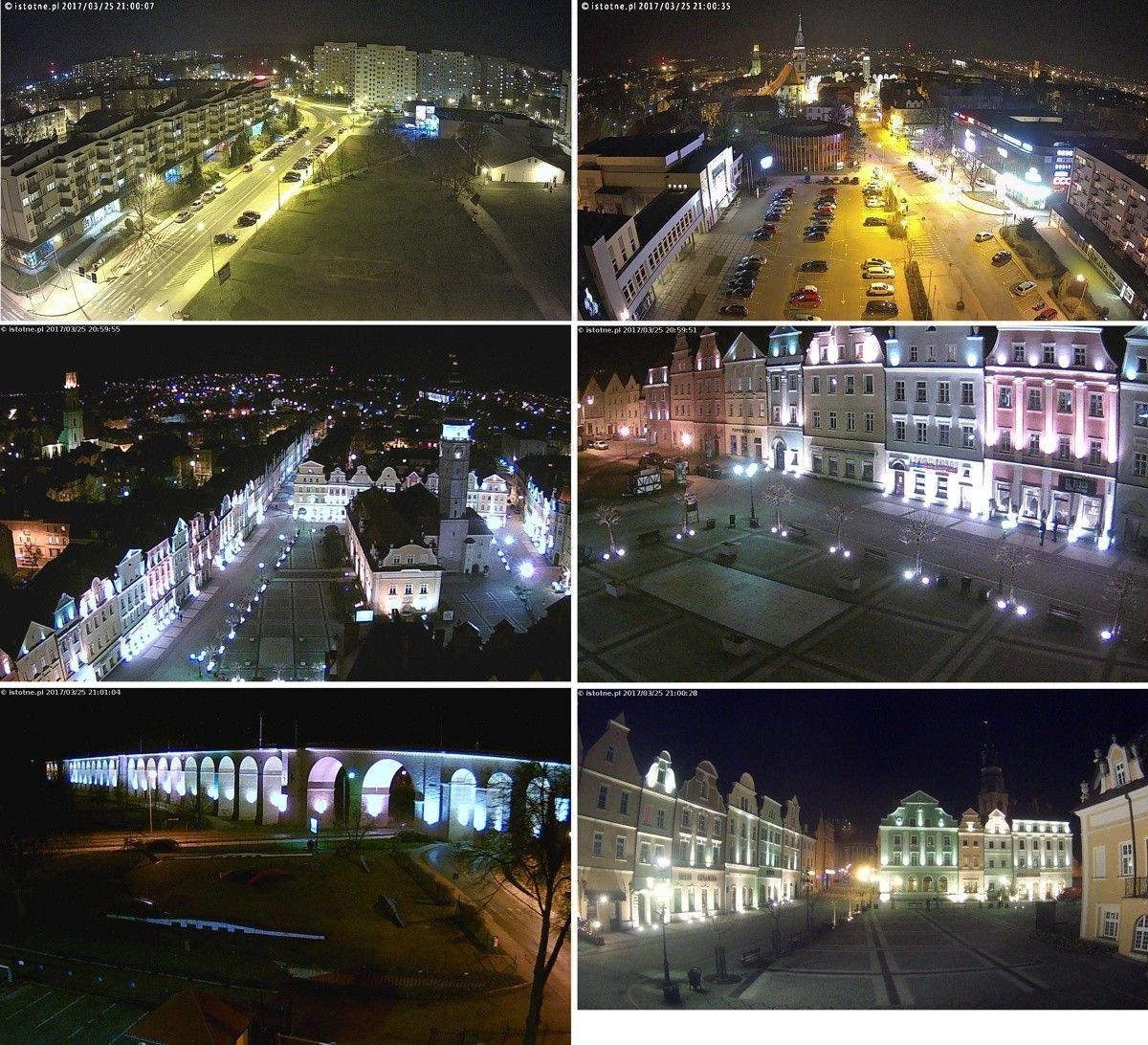 Rozświetlone budynki w Bolesławcu