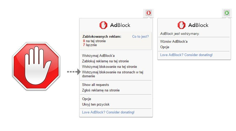 """W przypadku AdBlock należy kliknąć napis """"Wstrzymaj blokowanie na stronach w tej domenie""""."""