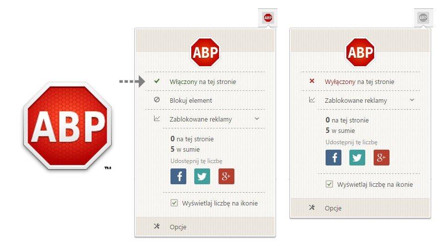 """W przypadku Adblock Plus należy kliknąć napis """"Włączony na tej stronie"""". Zmieni się on w """"Wyłączony na tej stronie""""."""