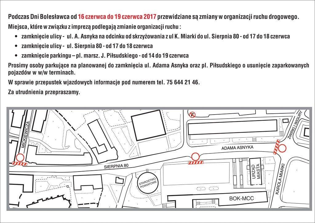 Zmiany w organizacji ruchu drogowego 17 i 18 czerwca