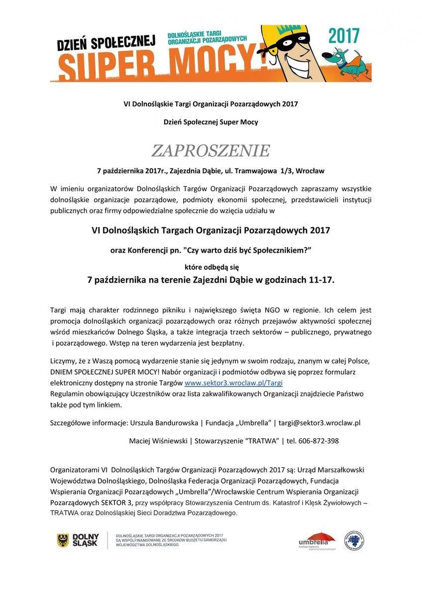 Zaproszenie na Dolnośląskie Targi NGO