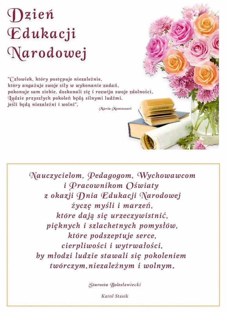Starosta Bolesławiecki składa życzenia Nauczycielom