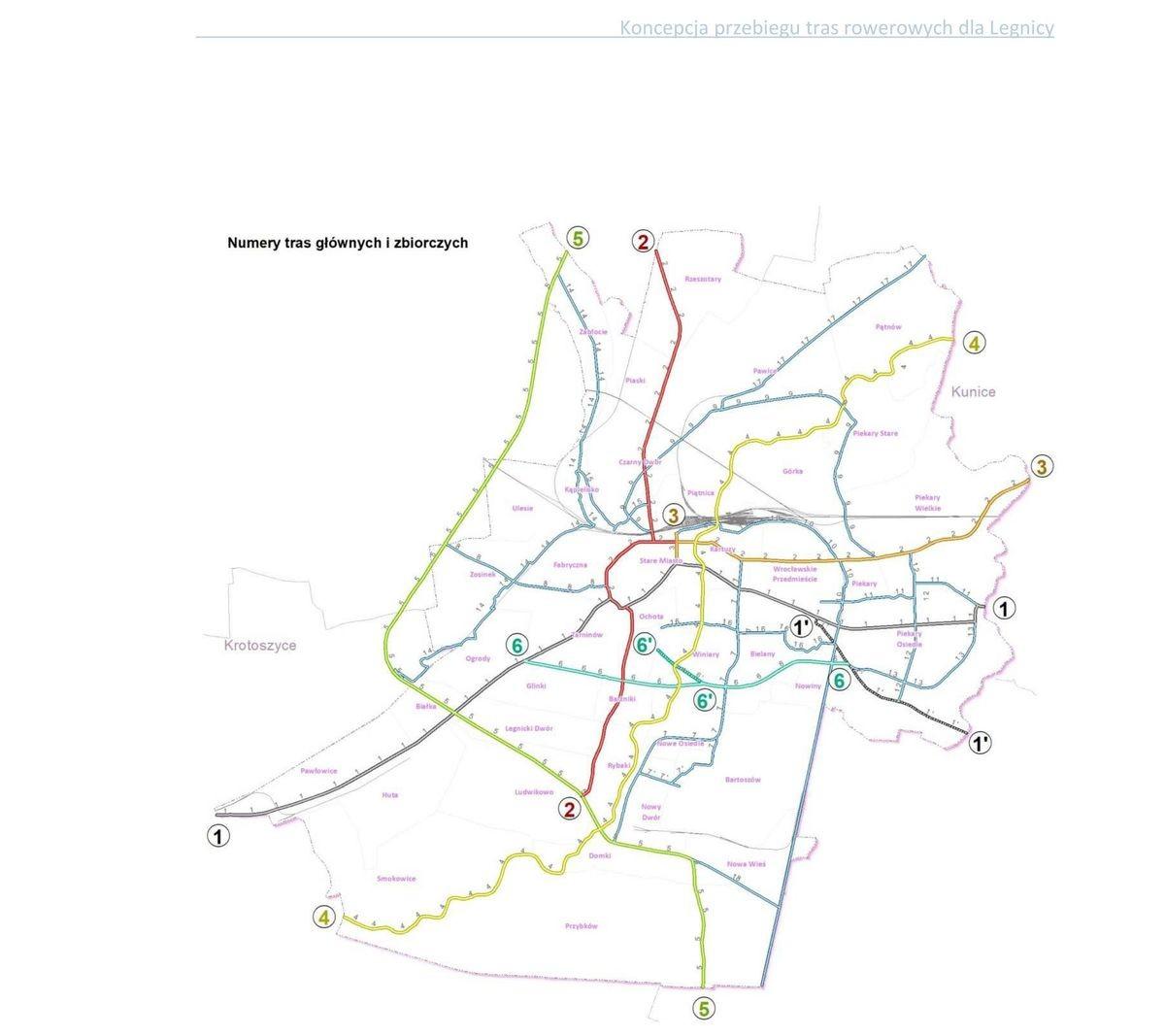 Mapa rowerowa Legnicy