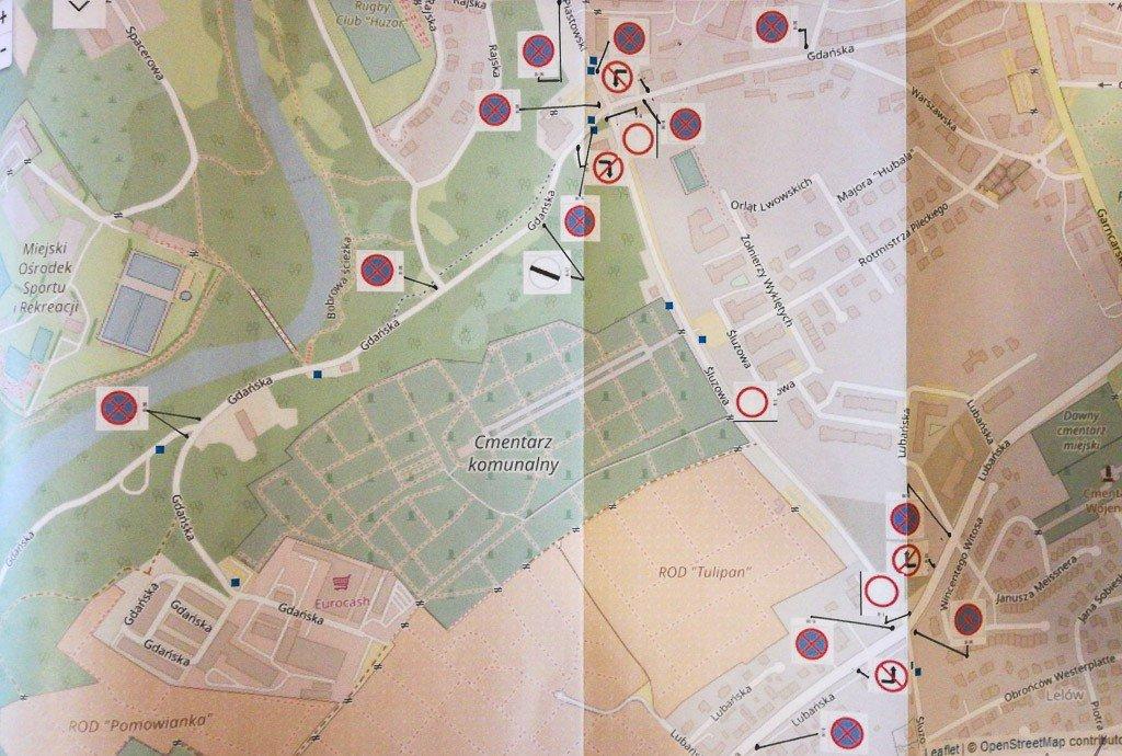 Mapka reorganizacji ruchu przy bolesławieckim Cmentarzu Komunalnym