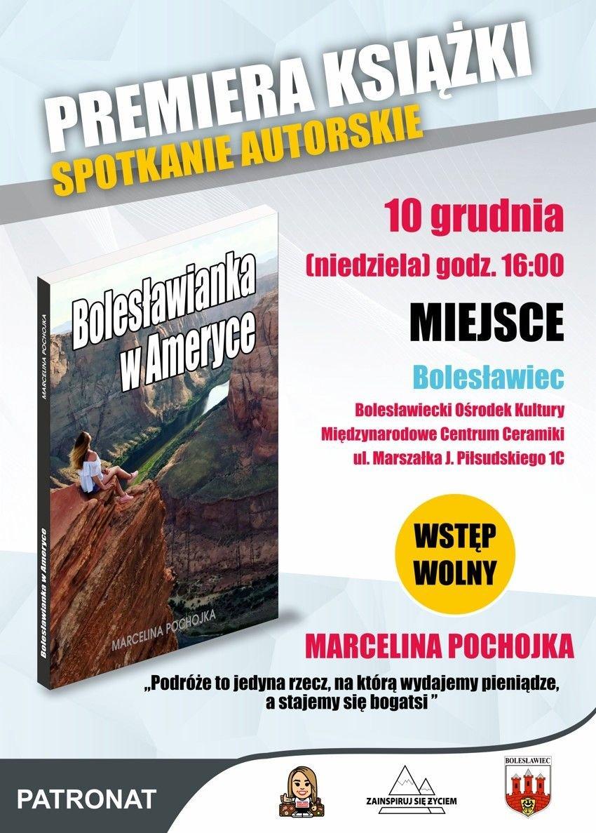 Plakat promujący premierę książki Marceliny Pochojka